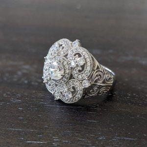 Vanna K Sterling Silver Bella Luce Estate Ring
